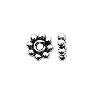TK131001: Sterling Silver Oxidized Daisy Heishe Beads