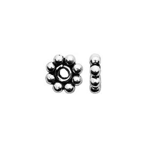 TK131002: Sterling Silver 5mm Oxidized Daisy Heishe Beads