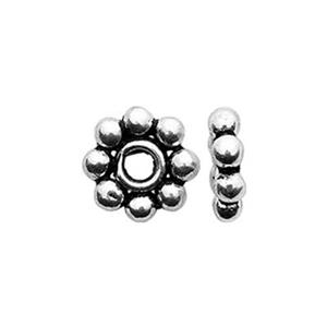 TK131003: Sterling Silver 5.5mm Oxidized Daisy Heishe Beads