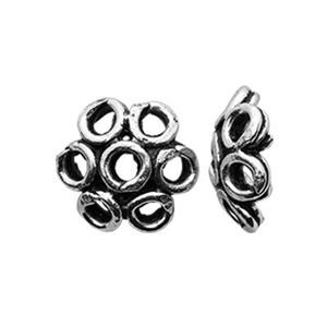 TK153002: Sterling Silver Oxidized Loop Daisy Bead Caps