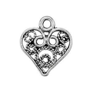 TK170090: Sterling Silver Filigree Heart Charm