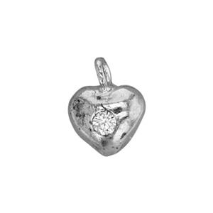 SA15CZ: 5.5x7.4mm Tiny CZ Set Puff Heart Charm, 1.4mm CZ, 1mm Ring ID